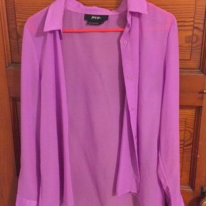 Sheer purple Nasty Gal shirt size Medium